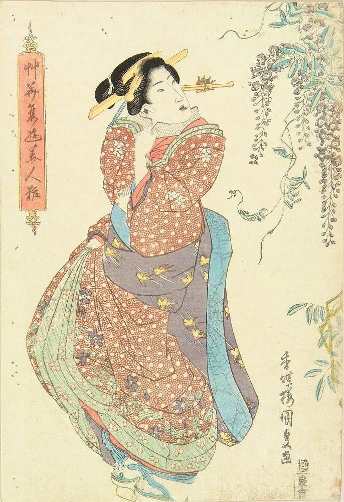Utagawa Kunisada - A beauty standing by wisteria - 1830